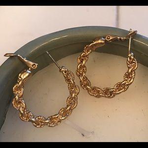 Plated Yellow Gold Finish Twist Hoop Earrings